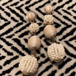 White Dangle Pom Earrings White